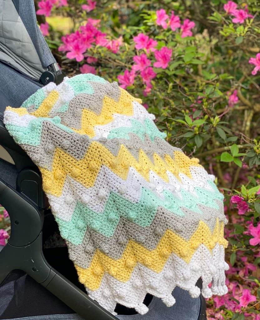How to crochet the Bobble Chevron Baby Blanket.