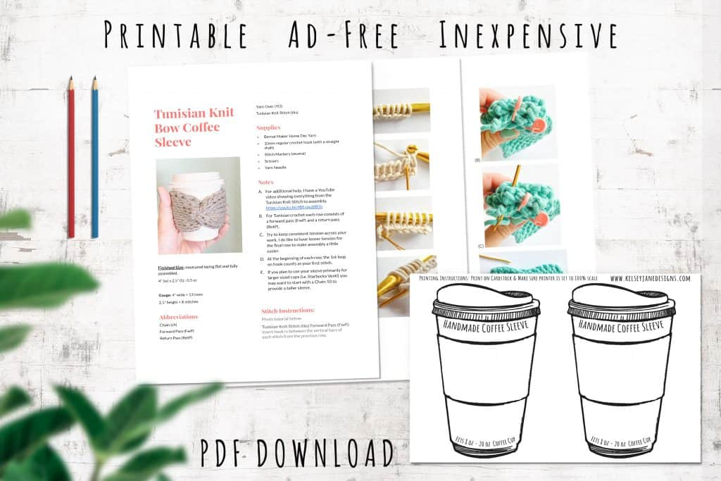 Download the low-cost ad-free PDF on ETSY and get the bonus coffee sleeve insert. Perfect for gifting or selling at craft fairs.
