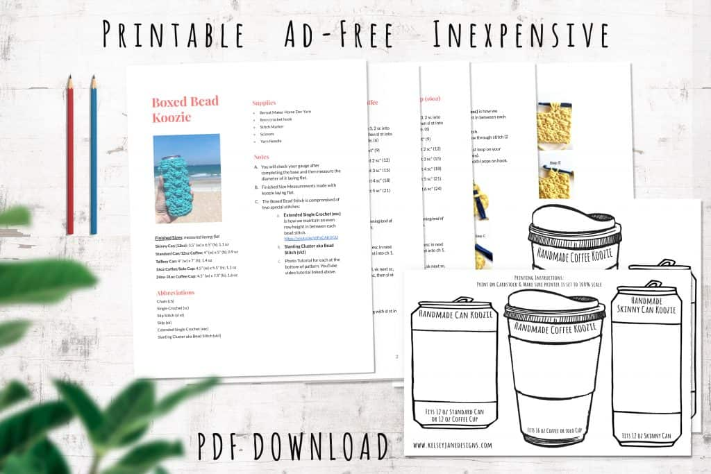 Download the inexpensive PDF copy of the Boxed Bead Koozie pattern on ETSY. Ad-Free with bonus koozie insert printables.