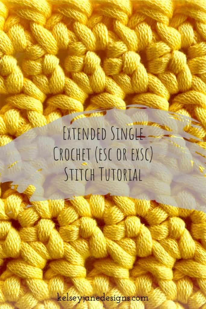 Learn how to crochet the easy and beginner friendly, Extended Single Crochet (sec or exsc). Included is an easy to follow YouTube video tutorial.