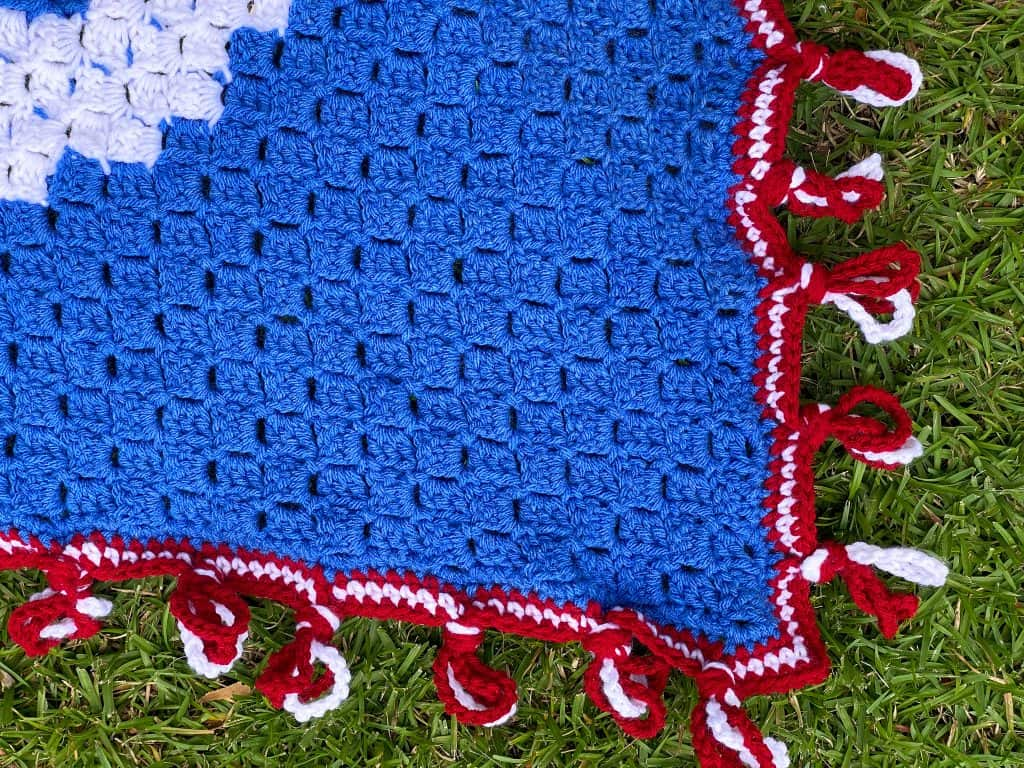 Learn how to crochet the nautical knots blanket border on the USA Patriotic Free C2C Crochet Blanket Pattern.