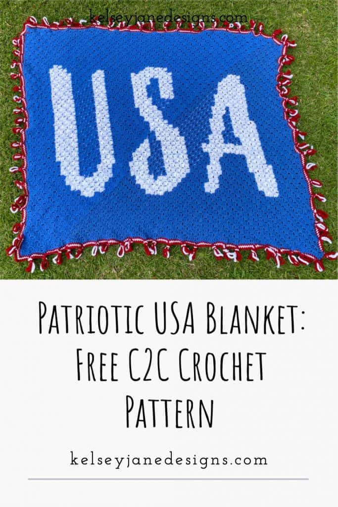 Learn how to crochet this easy C2C USA Patriotic blanket using Lion Brand Pound of Love. Perfect for 4th of July or cheering on Team USA in the Olympics.