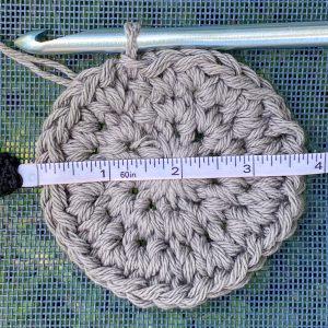 Gauge check for the Bobble Hobo Bag Free Crochet Pattern.