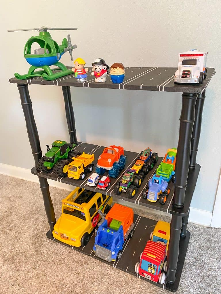 Easy DIY Toy Truck Parking Garage for under $30. Excellent storage solution for toy trucks, cars and more!